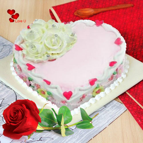 Shop Online Heart Shape Cake N Single Red Rose