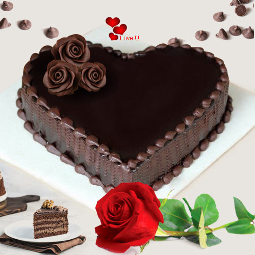 Order Online Chocolate Cake N Red Rose