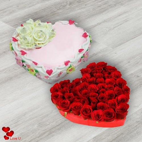 Send Online Combo of Heart Shape Red Roses with Love Cake