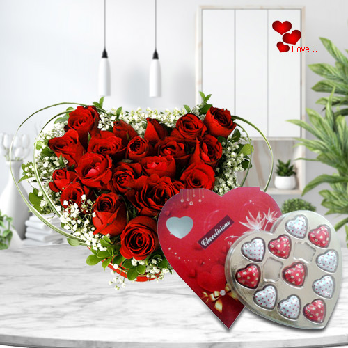 Order Heart Shape Arranged Red Roses N Chocolate Box Online