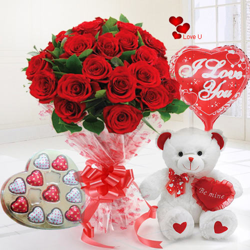 Send Valentines Day Rose Gift Hamper Online