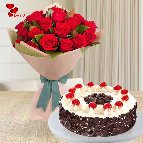 Deliver Bouquet of Red Roses N 5 Star Bakery Cake Online for Rose Day