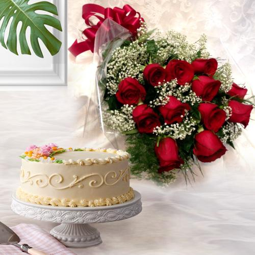 Buy Online Eggless Cake with Red Roses Bouquet