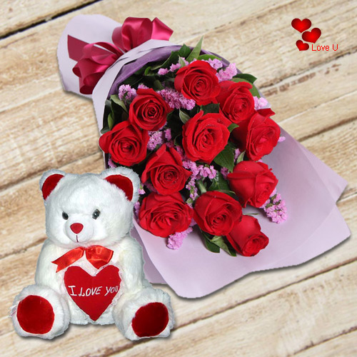Send Online Bouquet of Red Roses with Teddy