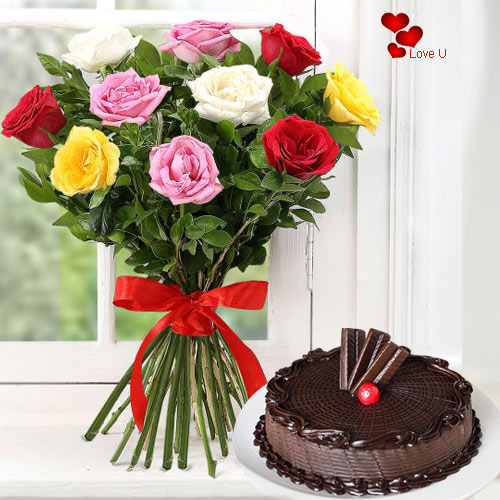 V-Day Gift of One Dozen Mixed Roses N Cake Online