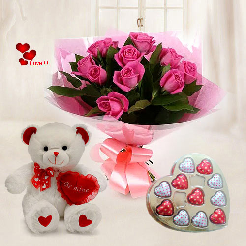 Send Heart Shape Chocolates with Teddy N Pink Roses for V-Day