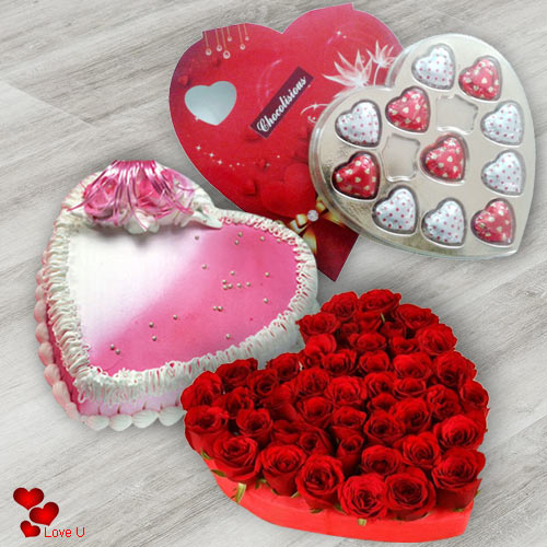 V-Day Gift of Red Roses Bouquet in Heart Shape with Chocolates N Love Cake