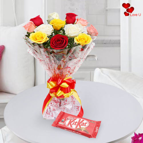 Online Gift of Mixed Roses with Kit Kat