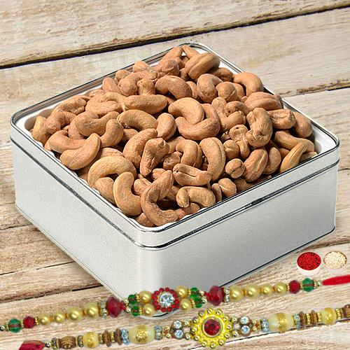 Masala Cashews with Free 2 Rakhis and Roli Tilak Chawal