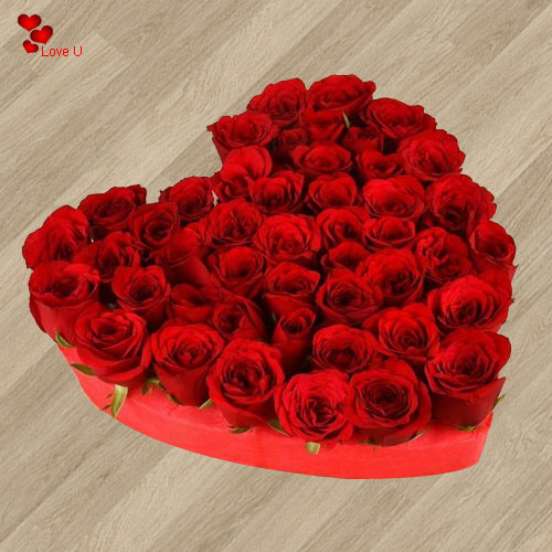 Send Heart Shaped Arrangement of 101 Dutch Roses to Lady Love