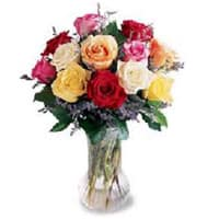Magnificent Precious Love Dozen of Mixed Roses in a Vase