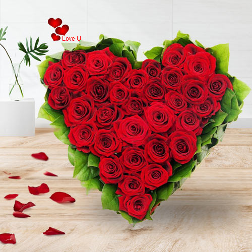 Deliver Online Red Roses Heart Bouquet