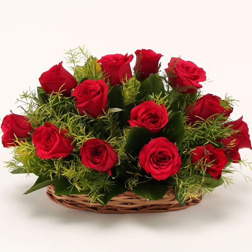 Buy Red Roses Basket Online