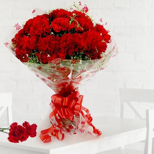 Pretty Bouquet of 12 Red Carnations
