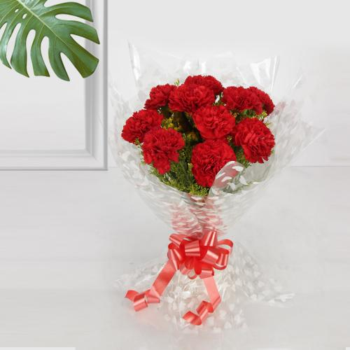 Beautiful Red Coloured Carnation Bouquet