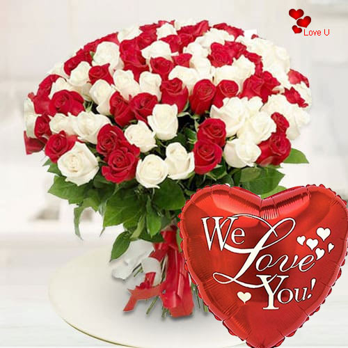Book Red N White Roses Bouquet Online