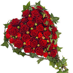 Magical Heart Shaped Red Roses Premium Arrangement