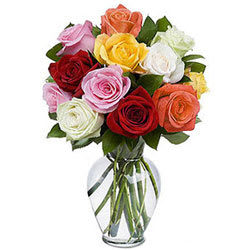 Aromatic Compilation of Mixed Roses in a Glass Vase