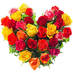 Joyful Hearty Arrangement of Thirty Mixed Roses