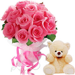 Sophisticated 12 Pink Roses Bouquet and Small Teddy Bear