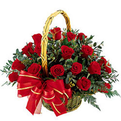 Aromatic Presentation of Red Roses in a Basket