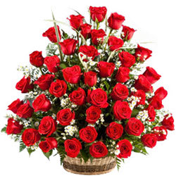 Chic Composition of Red Roses Basket