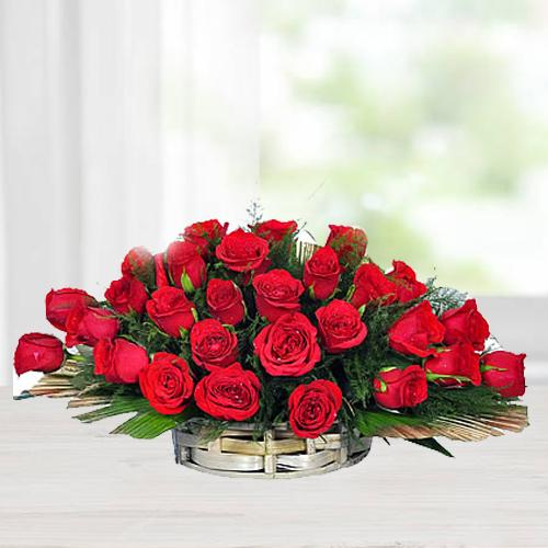 Silky-Smooth Red Roses Arrangement in a Basket