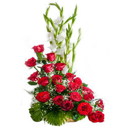 Stunning Fifteen Red Coloured Roses Premium Arrangement