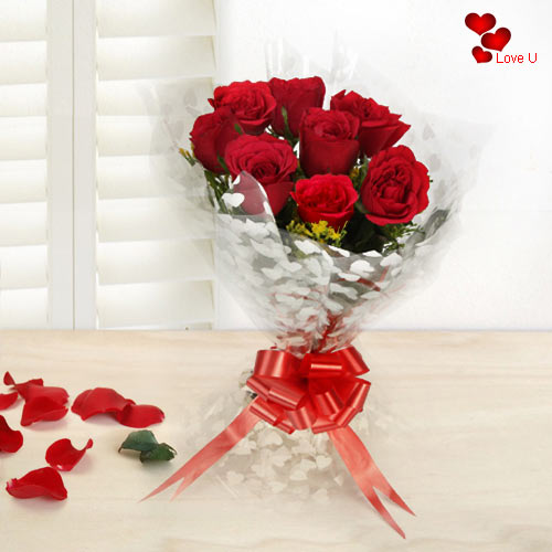 Buy Online V-Day Gift of Red Roses Bouquet