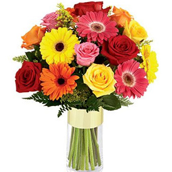 Enigmatic Gerberas N Roses display in a Glass Vase