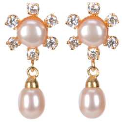 Trendsetting Pearl Earrings in Floral Pattern Ornamented with Eye-Catching AD stones
