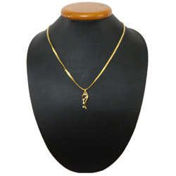 Alluring and Graceful Gold Plated Necklace with Twirling Lights Pendant