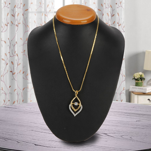 Enthralling Fernanda Pendant N Flame Gold Color Necklace