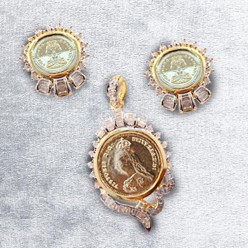 Exclusive Gold Coin Design Pendent N Earring Set