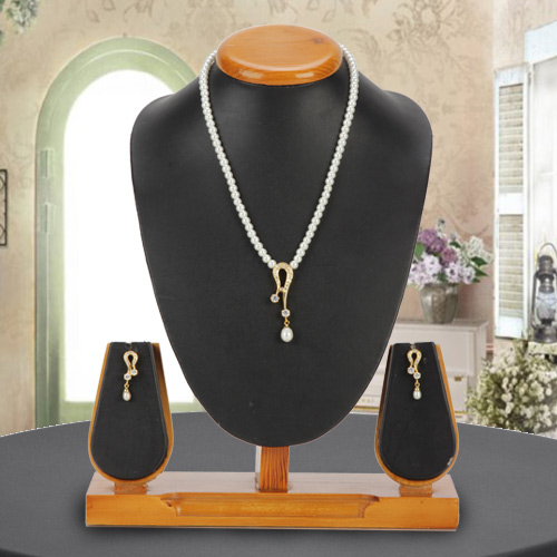 Magnificent Pendent Set with AD stones  N  Fashion Pearls