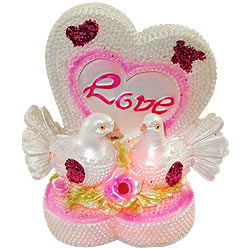 Wonderful Love Birds and Love Heart with LED Lights Showpiece
