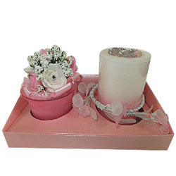 Fancy Pink Surprise Candles Hamper