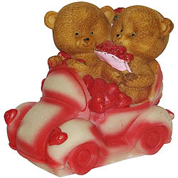 Remarkable Couple Teddy with Hearts in a Car