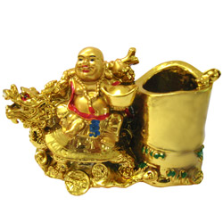 Adorable Laughing Buddha Pen Stand for Fortune and Wealth