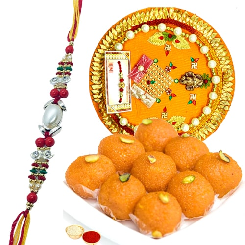 Unique Thali with Multicolored Rakhi
