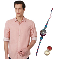 Coral Printed Peter England Shirt and Rakhi Combo