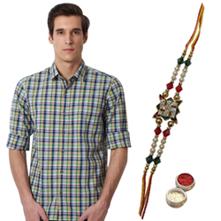 Refreshing Blue Checkered Peter England Shirt and Rakhi Gift Set