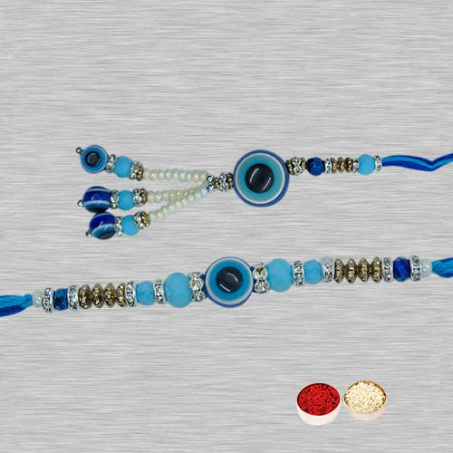 Feng Sui Patterned Evil's Eye Rakhi Set for Bhaiya & Bhabhi