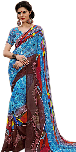 Designer Marbel Chiffon Printed Saree for Ladies