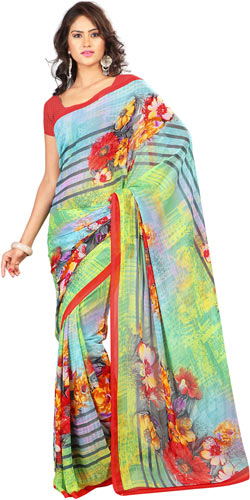 Sophisticated Georgette Printed Saree in Yellow and Sky Blue Colour