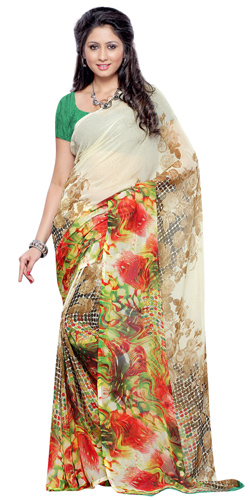 Fascinating Beige and Brown Coloured Georgette Printed Saree