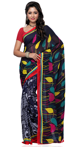 Mesmerizing Black and Grey Coloured Georgette Printed Saree