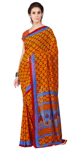 Gaudy Weightless Georgette Floral Printed Saree Shaded in Orange