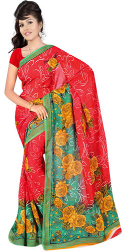 Stylish Women�s Printed Georgette Saree from Suredeal