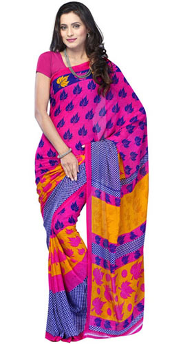 Chromatic Comeliness Chiffon Saree